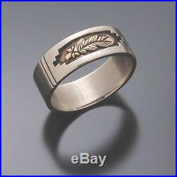 14K Gold Feather Ring with Sterling Silver Erick Begay TO12W