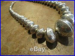 18 DYNAMITE Vintage Navajo Graduated Sterling Silver PEARLS Bead Necklace