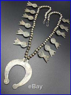 1930s NAVAJO Sand Cast STERLING SILVER Turquoise SQUASH BLOSSOM Necklace, 244g