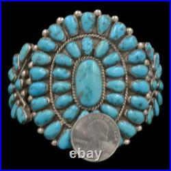 1950's Navajo Old Pawn Sterling Silver KINGMAN Turquoise Cluster Cuff Bracelet