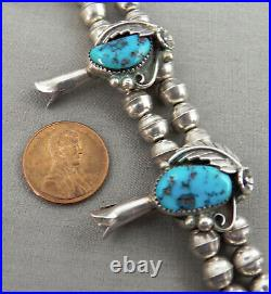 1960s Era Double Strand Turquoise & Sterling, Navajo Squash Blossom Necklace