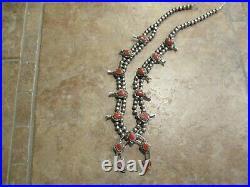 22 FINE Vintage Navajo Sterling Silver Coral SQUASH BLOSSOM Necklace