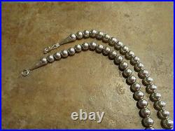 24 AUTHENTIC Vintage Navajo Sterling Silver PEARLS Bead Necklace on Foxtail