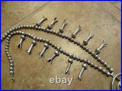 28 OLDER Vintage Navajo Sterling Silver Turquoise SQUASH BLOSSOM Necklace