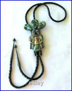 4 Kachina Bolo Tie Turquoise Navaho Vtg John Larson Sterling Silver