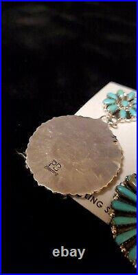 #461 Native Amer Sterling Silver Navajo Handmade Faux Turquoise Cluster Earring