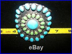 $850Navajo Turquoise Gaspeite Circle Of Life Cluster Cuff BraceletRocki Gorman