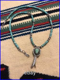 #993 Vintage Navajo Squash Blossom Pendant, Turquoise Heishi, Sterling Silver