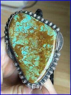 A+ Big Estate NAVAJO / Zuni TURQUOISE & Silver Bolo Tie Pendant Necklace