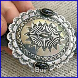 A+ Hefty Navajo Southwestern Sterling Silver & Onyx Kirk Smith Concho Belt 525gr