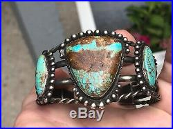 A+ Old Pawn Navajo Cuff Bracelet Matrix Ribbon Turquoise & Sterling Silver