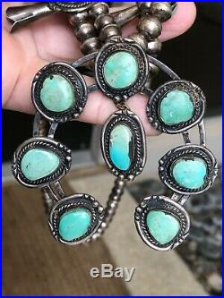 A+ Old Pawn Navajo Southwest Squash Blossom Necklace Sterling Silver & Turquoise