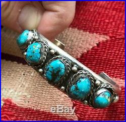 A+ Old Pawn STERLING SILVER Multi TURQUOISE Stone Navajo Native Cuff Bracelet
