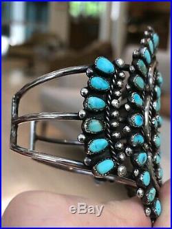 A+ Old! Teardrop Zuni / Navajo Turquoise & Sterling Silver Cuff Bracelet