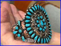 A+ Vintage Teardrop Zuni / Navajo Turquoise & Sterling Silver Cuff Bracelet