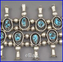 AUTHENTIC Navajo Sterling Silver Kingman Turquoise Squash Blossom Necklace 220g