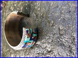 Alvin Yellowhorse Multi-Stone Inlay Sterling Silver Navajo Cuff Bracelet