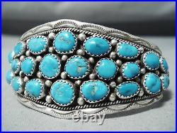 Astonishing Vintage Navajo Old Kingman Turquoise Sterling Silver Bracelet Old