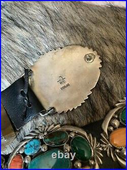 Authentic Native American Wilson Begay Multi-stone Sterling Silver Concho Belt