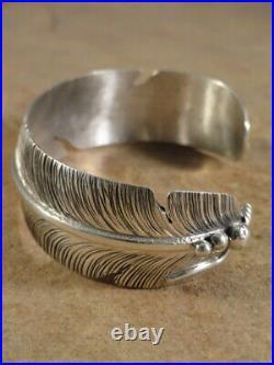 Ben Begaye Navajo Sterling Silver Feather Cuff Bracelet