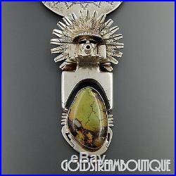 Bennie Ration Navajo 925 Silver Green Turquoise 5 Kachina Necklace Pin Pendant
