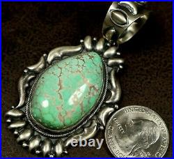 Big Vintage Old Pawn Navajo Green UNIQUE Turquoise Sterling Pendant Enhancer