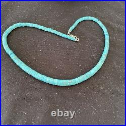 Blue Turquoise Heishi Sterling Silver Necklace Navajo Pearls Stab Graduated 1184
