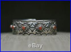 Cecil Lee Native American Navajo Coral Sterling Silver Cuff Bracelet