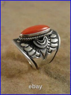 Derrick Gordon Navajo Sterling Silver & Coral Cigar Band Ring sz 7 1/2