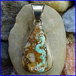 E. Willie for Joe Delgarito Navajo Boulder Turquoise Sterling Silver Pendant
