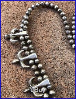 Early Navajo Sterling Silver Bench Bead Pearls Squash Blossom Sandcast Necklace