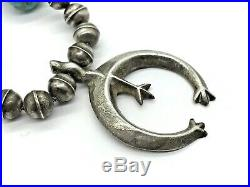 Early Navajo Sterling Silver Bench Bead Turquoise Naja Squash Blossom Necklace