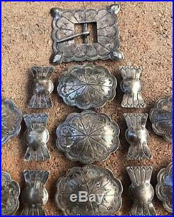 Early Pawn Navajo native American Handmade Stamped Sterling Silver Concho Belt