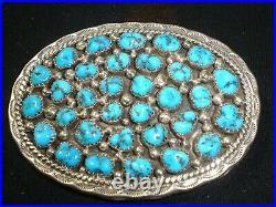 Elegant Navajo Sterling Silver Turquoise Belt Buckle Native American Dead Pawn