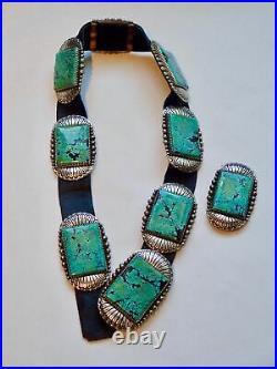 Ernest Bilagody Navajo Vintage Sterling Silver & Turquoise Concho Belt