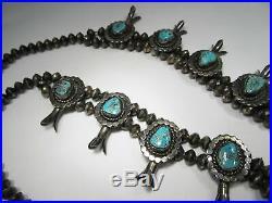 Estate Vtg Navajo Pilot Mountain Turquoise. 925 Silver Squash Blossom C1609