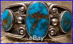 FINEST Navajo FRED PESHLAKAI Ingot Sterling & Gem Blue Turquoise Cuff BRACELET