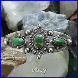 Fred Harvey Era Navajo Green Turquoise Sterling Cuff Bracelet Stamp Decoration