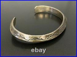 Freddie Maloney Vintage Navajo Indian Sterling Silver Stamp Work Bracelet Cuff