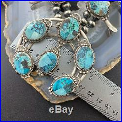 Fritson Toledo Navajo Sterling Silver Mosaic Turquoise Squash Blossom Necklace