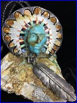 GALLERY QUALITY, John Winston HUGE Native American Sterling Bolo, 381.4g