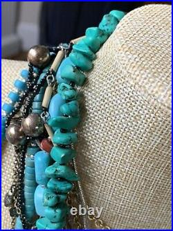 Genuine TURQUOISE Necklace Navajo Pearl NUGGET Vintage Old Pawn