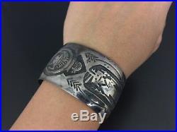Gibson Gene Vintage Navajo Sterling Silver Kachina Wide Bracelet Cuff
