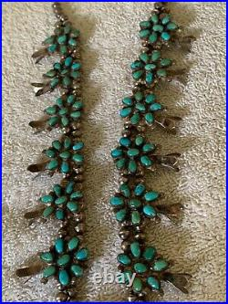 Gorgeous Sterling Silver Native American Squash Blossom Turquoise Necklace