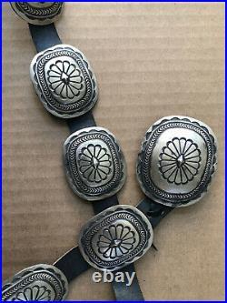 Great! Vintage NAVAJO Martha Cayatineto Sterling Silver Stampwork Concho Belt