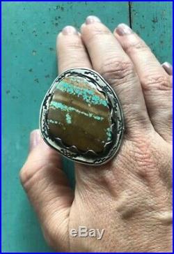 HUGE 23g Sterling Vtg Navajo Royston Boulder Turquoise RingUnisexSz 9.5