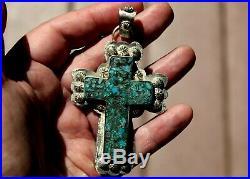 HUGE 4 Navajo Eugene Gruber Sterling Silver & Turquoise Stone Cross Pendant