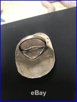 HUGE Massive Navajo Vintage Sterling Silver Turquoise Ring Sz 10 23g
