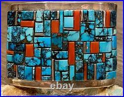 HUGE Navajo Ernest Begay Sterling Turquoise Coral Cobblestone Cuff Bracelet 147G