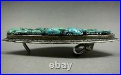 HUGE OLD Vintage Navajo Sterling Silver Turquoise Cluster Belt Buckle